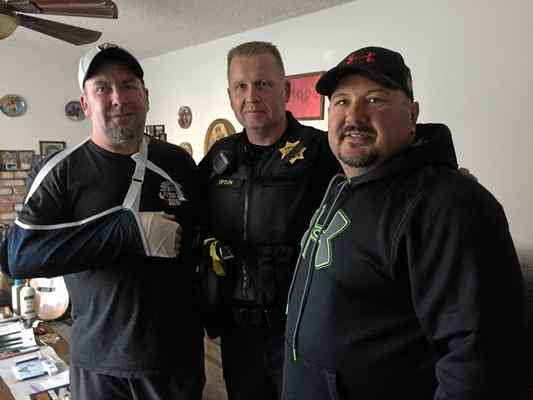 Everhart (left), Benicia Chief Erik Upson (center), Ainsworth (right)